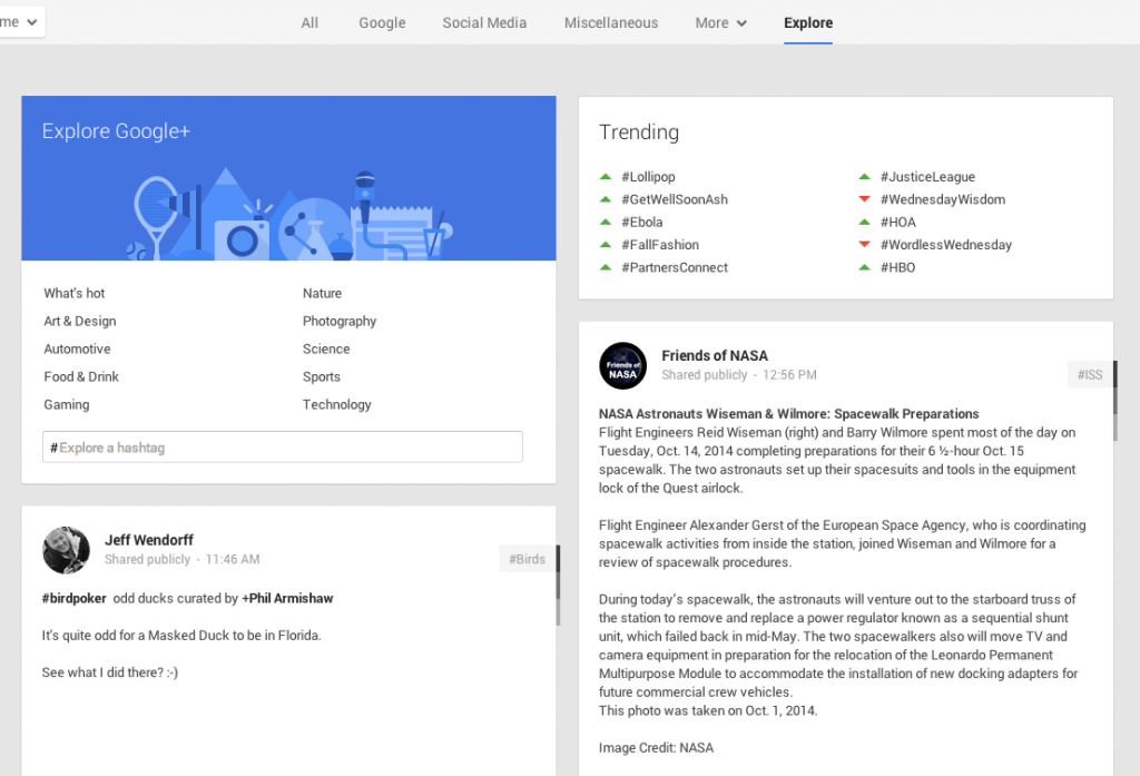 Explore tab Google+