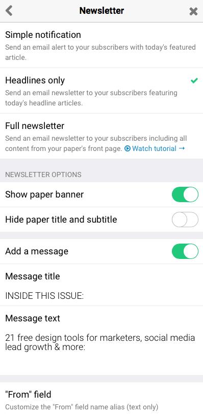 Paperli newsletter settings