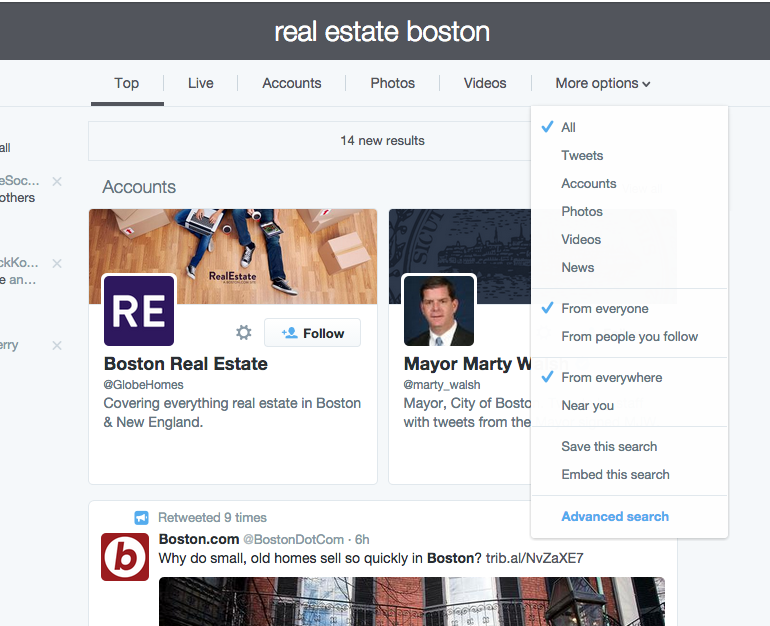 Twitter search results page